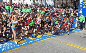 Start of the Boston Marathon in Hopkinton, MA