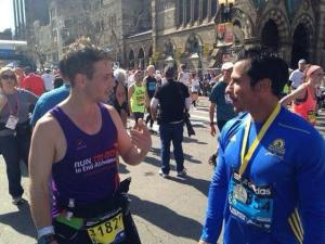 Joe McIntyre & Danny Wood both finished the Marathon today - both are members of Boston's own boy band New Kids on the Block