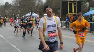 I guarantee this guy has high spirits.  It's just not easy to get a good photo of someone running. Try it. I dare you.